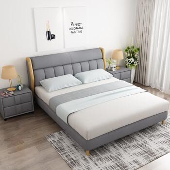 得意な生活はベッド·ファブリック·ベッド寝室の小型1.8メートルダンベル北欧風シンプの外しかもしれないファブリック純木ベトド、原木色シングルジッド原木色シングル